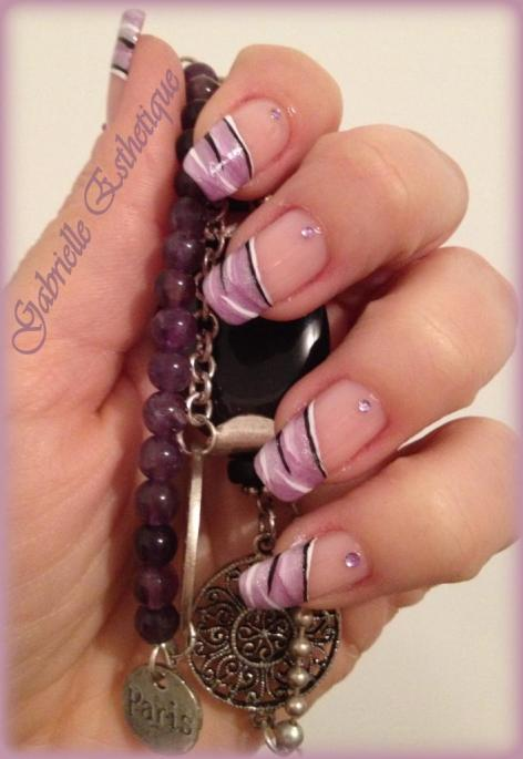 nail art french violet one stoke