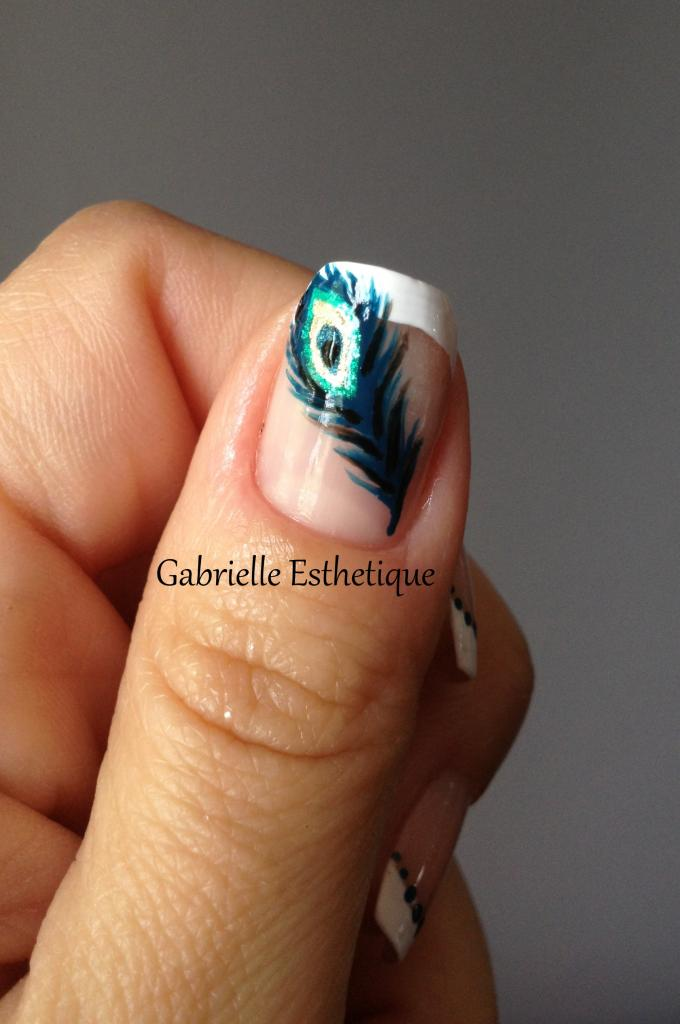 Nail Art plume de Paon